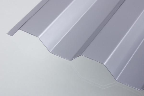 Lichtplatte Poycarbonat Trapez 76/18 Wellplatte silbermetallic